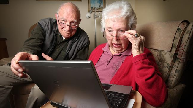 Don Hewitt, 87, and Beatrice Forster, 91, will fill in the paper form. Picture: Glenn Ferguson