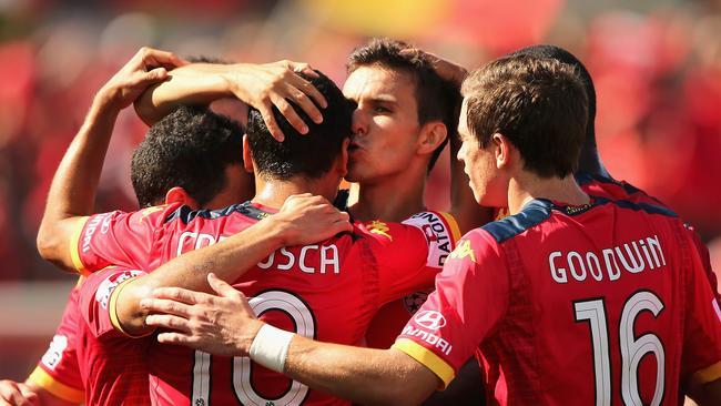 Marcelo Carrusca of United celebrates.