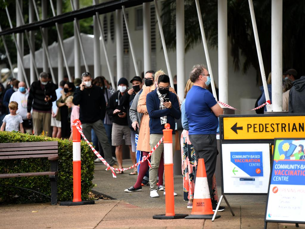 People line up outside a community Covid-19 vaccination centre in Capalaba, in Brisbane's east. Picture: NCA NewsWire / Dan Peled