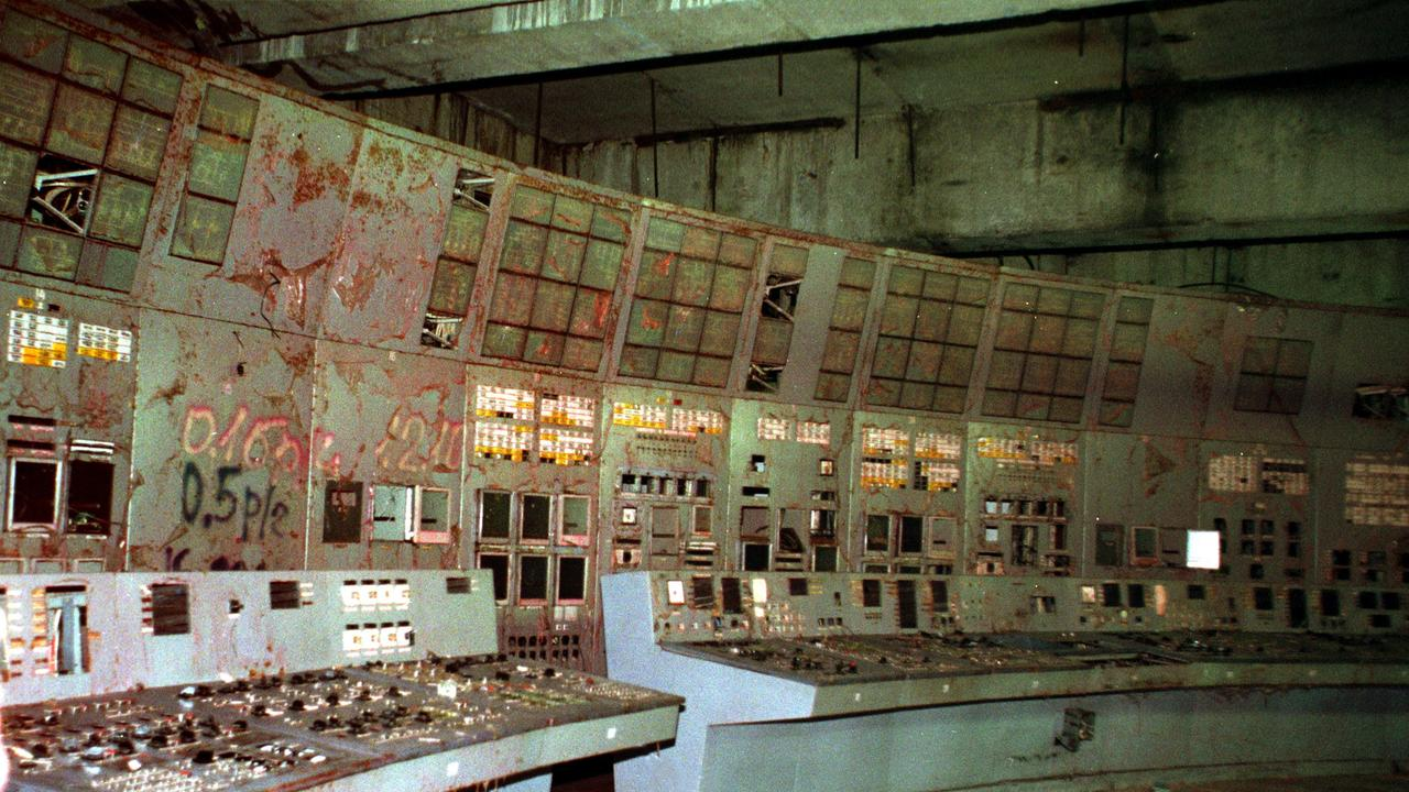 The old control room inside reactor No. 4 in the Chernobyl nuclear power plant.