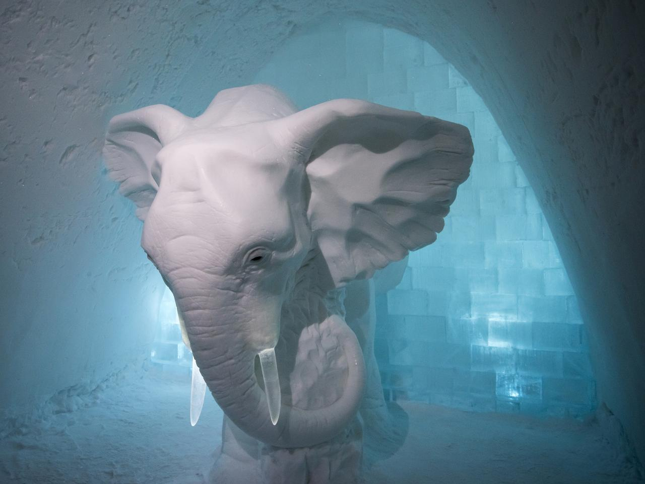 ESCAPE: ICE HOTEL, SWEDEN .. David Evans story .. elephant decoration inside the hotel. Picture: David Evans