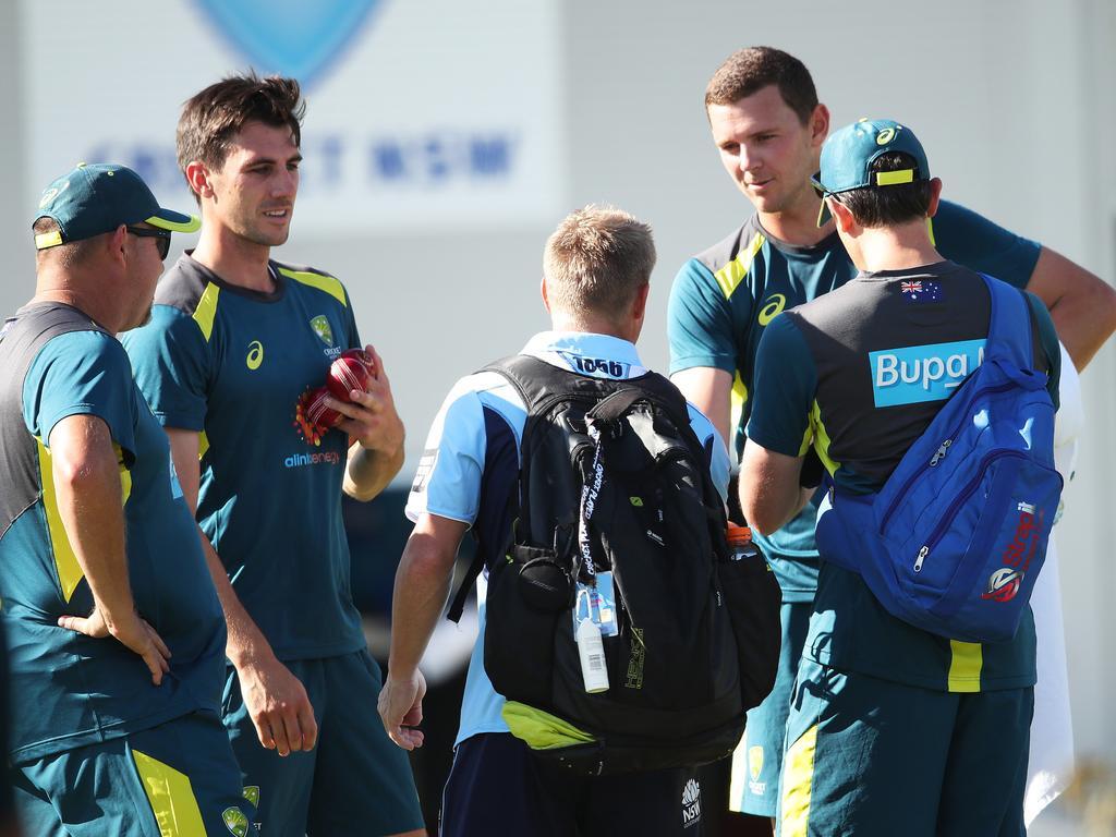 David Warner with Aussie quicks Pat Cummins and Josh Hazlewood. Picture. Phil Hillyard