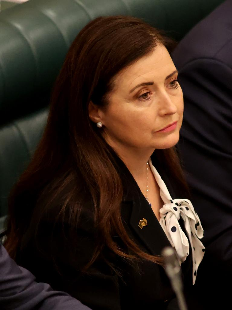 Child Protection Minister Rachel Sanderson listens during question time. Picture: NCA NewsWire / Kelly Barnes