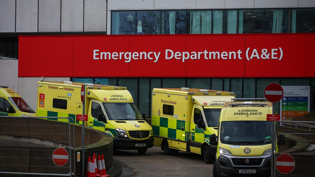 Ambulances parked outside St Thomas' Hospital in central London – the same hospital UK Prime Minister Boris Johnson was treated at when he contracted COVID-19. Picture: Hollie Adams/Getty Images