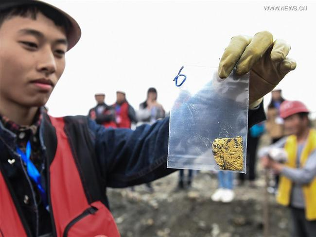 A relic unearthed during the dig. Picture: Xinhua/Li He