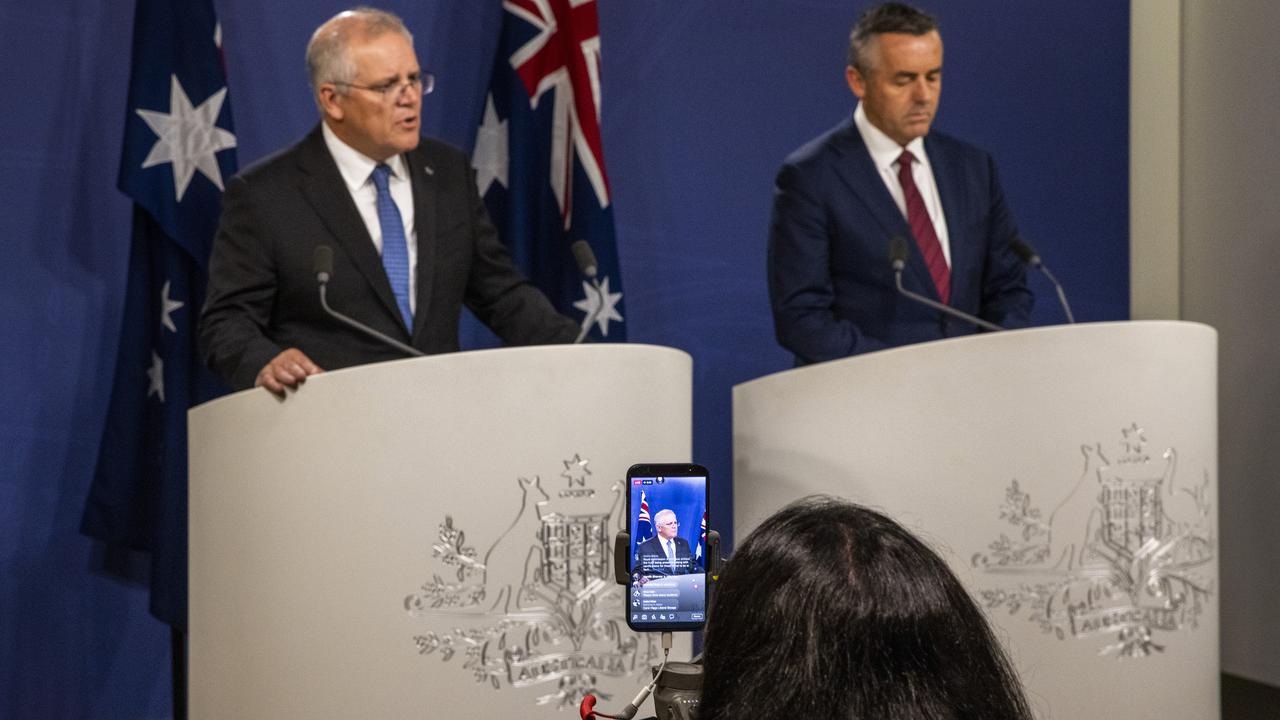 Scott Morrison and Darren Chester announcing a royal commission into veteran suicides. Picture: Jenny Evans/Getty Images