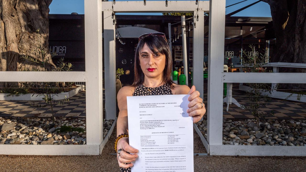Cafe owner and mum-of-three Michelle Loielo has taken the Victorian government to court to declare the curfew invalid. Picture: Jake Nowakowski.