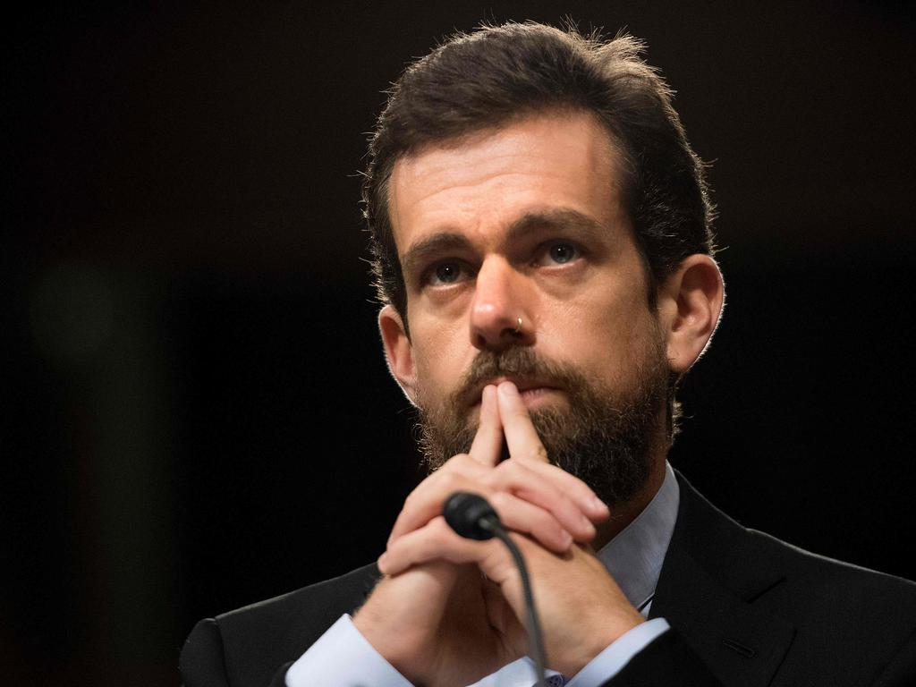 A pensive Jack Dorsey approximating the expression of this reporter trying to figure out why people would buy one of his tweets. Picture: Jim Watson / AFP