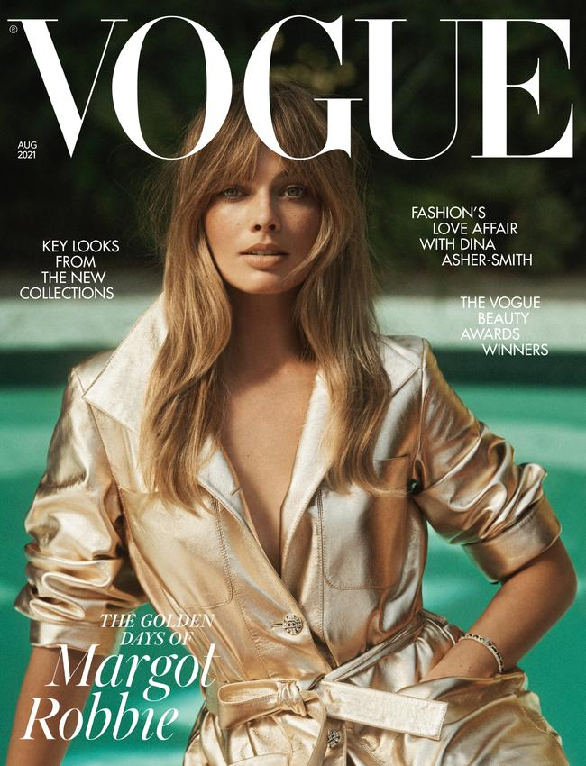 Margot Robbie on the cover of British Vogue August 2021 issue. Picture: Lachlan Bailey/Vogue