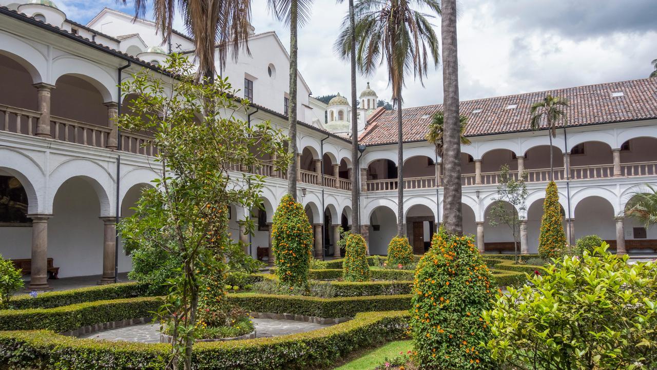 Courtyard in the Convento de San Francisco, Convent of St. Francis, Quito, Pichincha Province, Ecuador