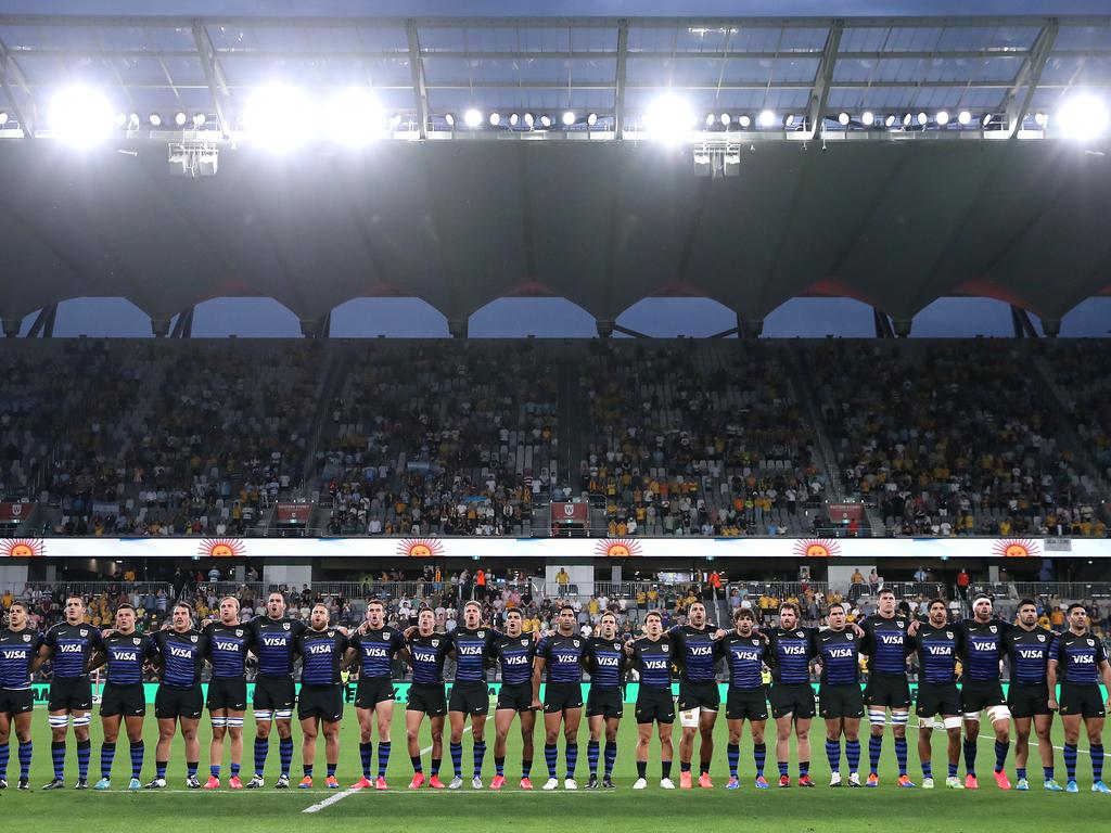 Argentina stand for the national anthem.