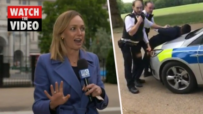 Aussie reporter assaulted while covering London protests (Nine News)