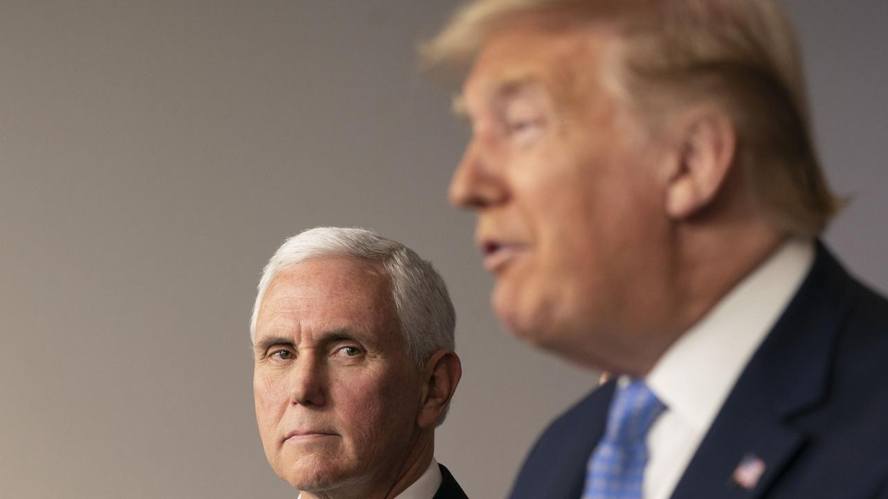 Trump is pressuring Vice President Mike Pence (above with the president last year) to declare the votes fraudulent. Picture: Chris Kleponis/Getty Images