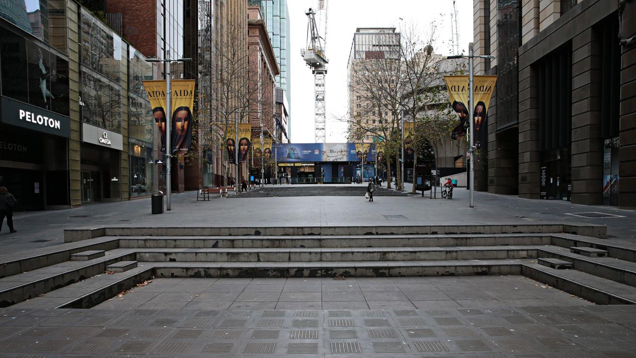 Martin Place in Sydney's CBD, a centre of finance, is usually bustling. But not now. Picture: NCA NewsWire/Adam Yip