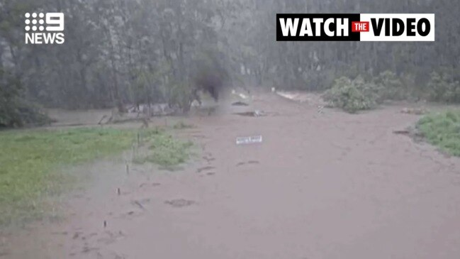 Incredible vision of flood swallowing road (9 News)