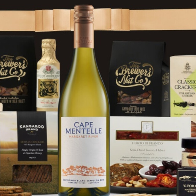 The hampers combine a range of gourmet products.