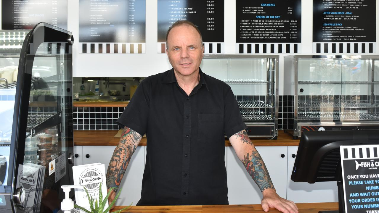 Bringing his years of experience in the kitchen to Bourbong St, Scott Goodwin has opened up his own fish and chip shop. Picture: Rhylea Millar