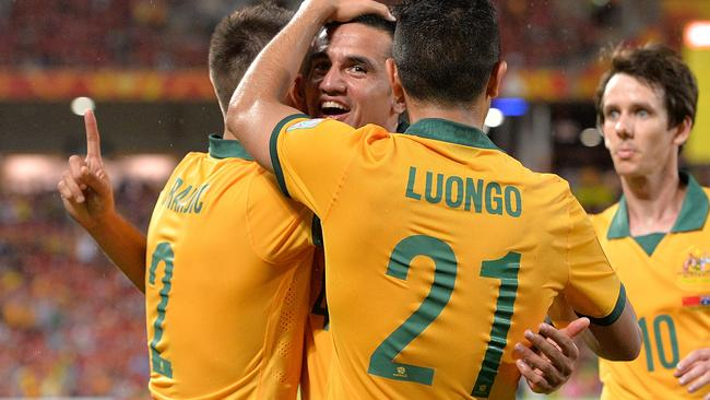 BRISBANE, AUSTRALIA - JANUARY 22: Tim Cahill of Australia celebrates after scoring a goal during the 2015 Asian Cup match between China PR and the Australian Socceroos at Suncorp Stadium on January 22, 2015 in Brisbane, Australia. (Photo by Bradley Kanaris/Getty Images)