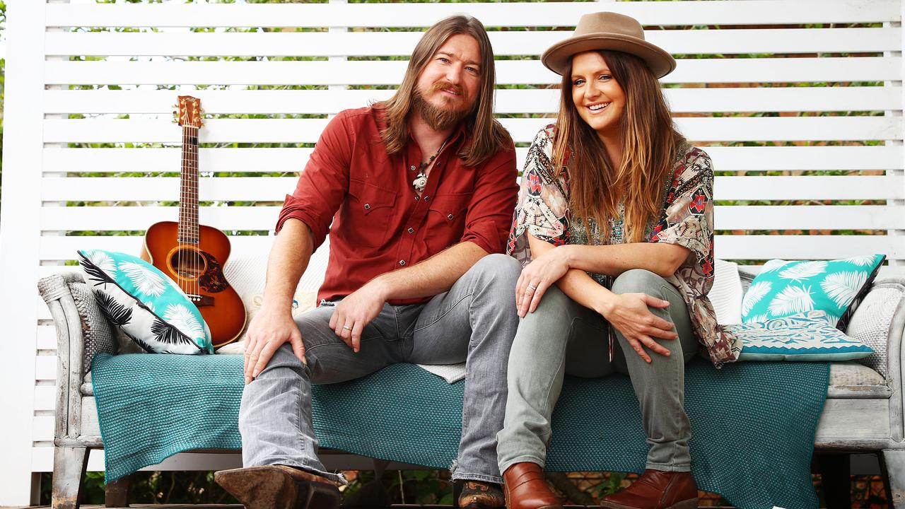Country music stars Brooke McClymont and Adam Eckersley at their house at Sydney's central coast.