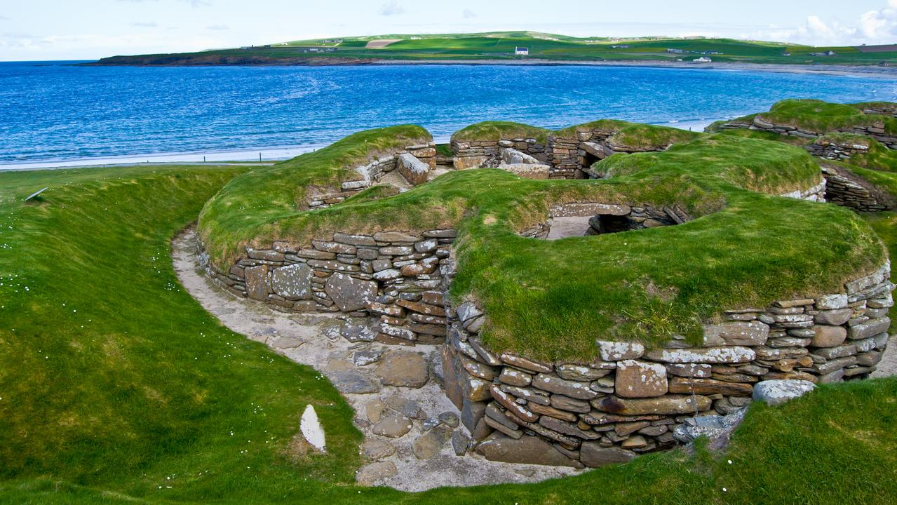 The stone age village of Skara Brae on Orkney, Scotland