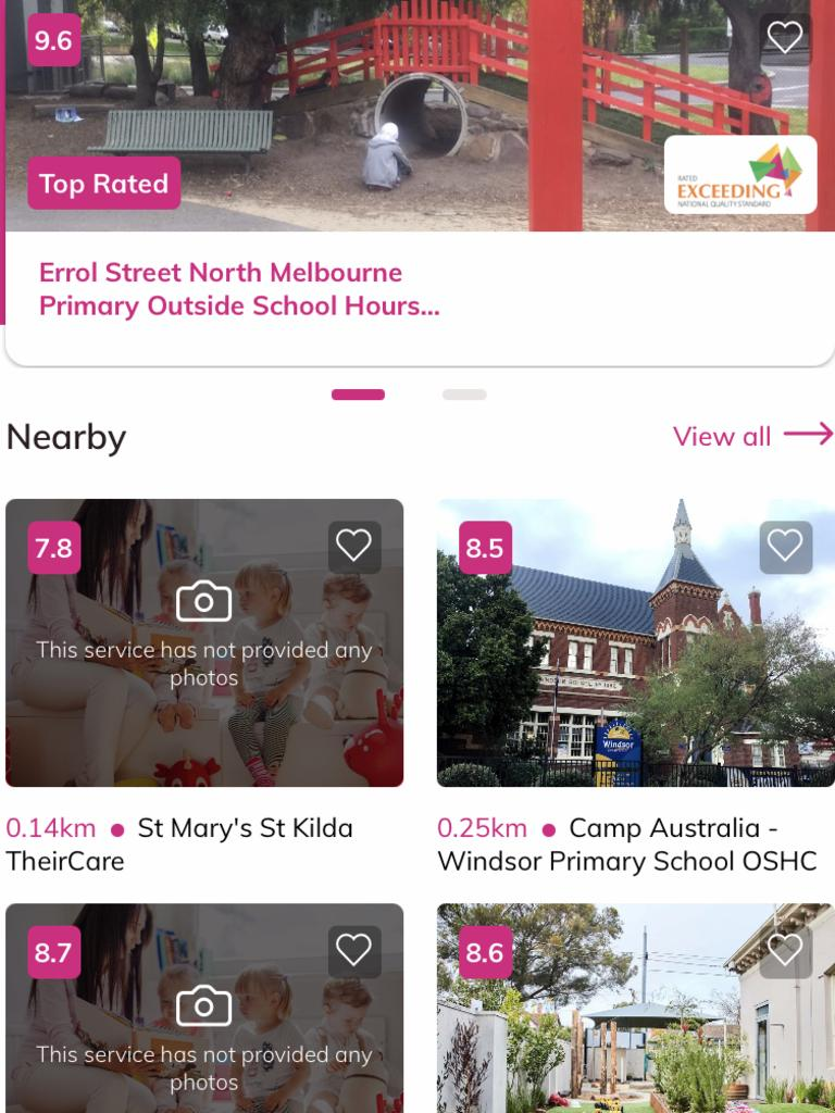 The KindiCare app shows a list of childcare centres in different suburbs. Picture: Supplied