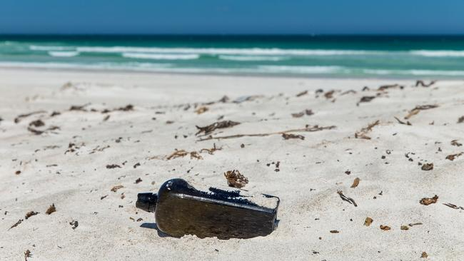 A bottle has been found on a WA beach, 132 years after being flung from a German sailing barque. Picture: AAP Image/supplied/Kym Illman