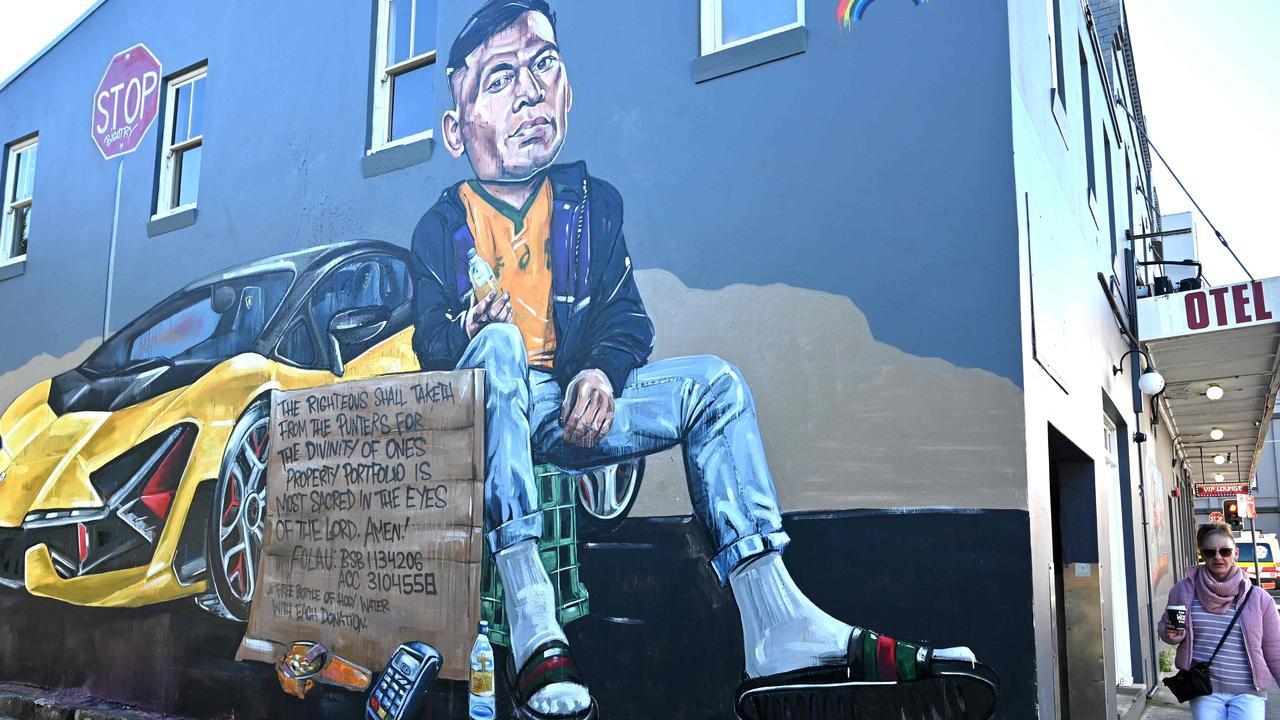 A mural in Sydney depicting former Australian rugby player Israel Folau.