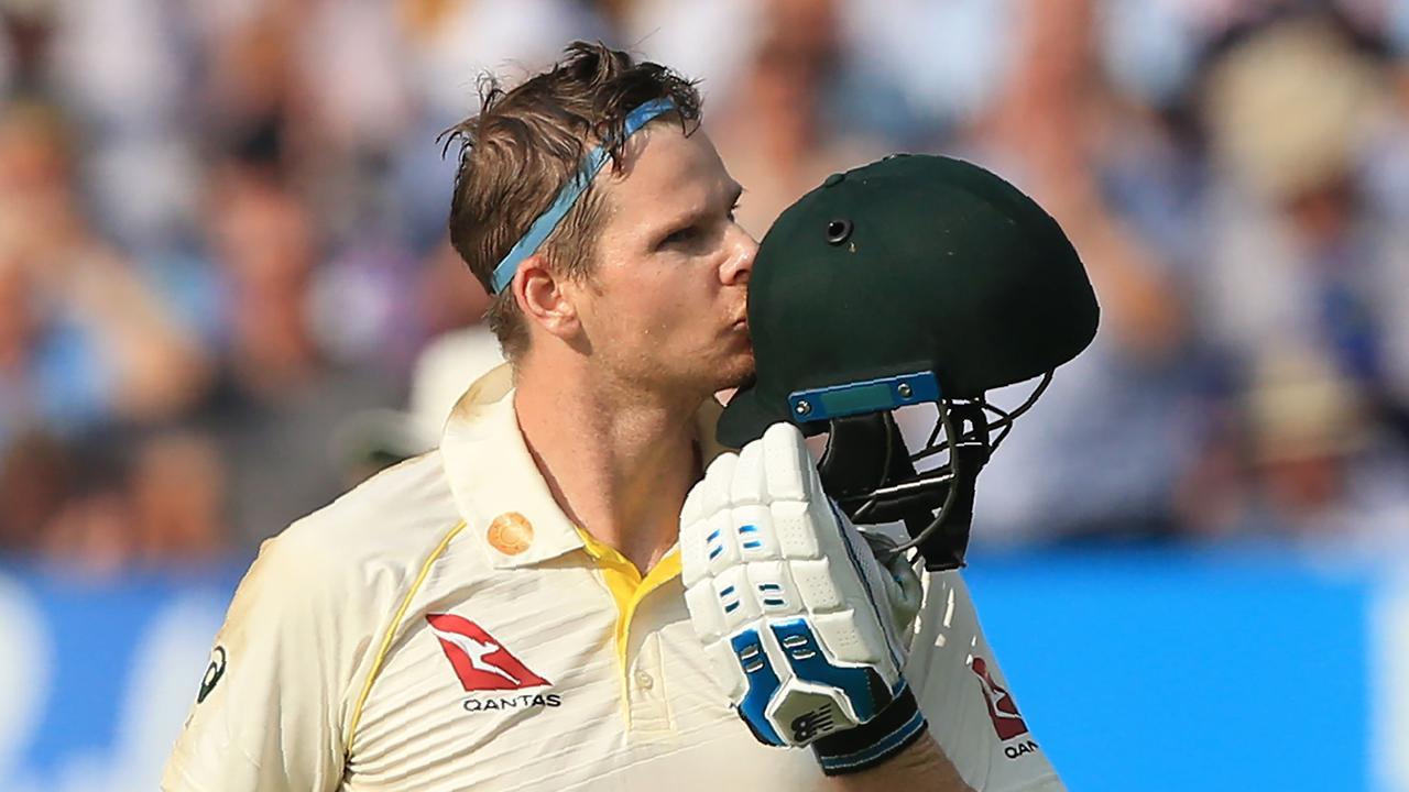 Australia's Steve Smith celebrates his century. Picture: AFP