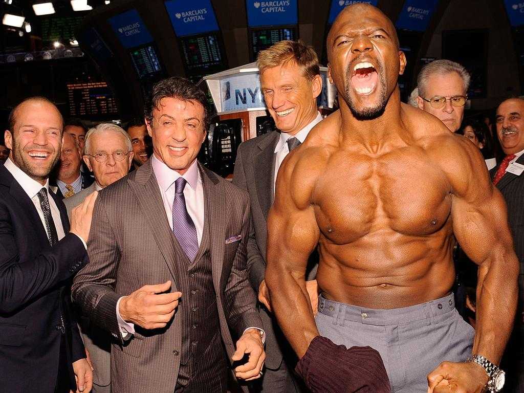 Actors Jason Statham, Sylvester Stallone, Dolph Lundgren and Terry Crews in 2010. Picture: Supplied