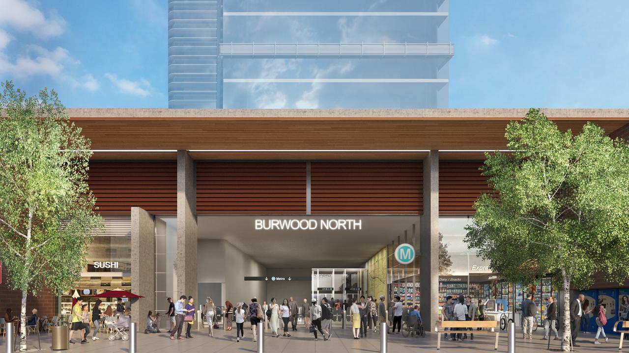 The proposed Burwood North station. It shows a large adjoining tower, a likely feature of every stop. Picture: NSW Government