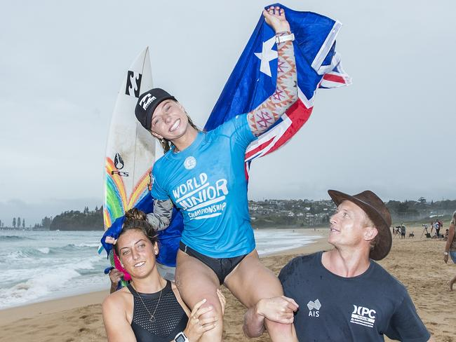 Macy Callaghan after winning the world junior surfing crown.