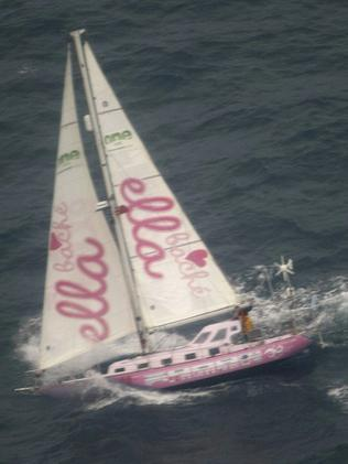 Jessica Watson's Pink Lady in waters off the coast of Argentina during her round-the-world voyage. Picture: Supplied
