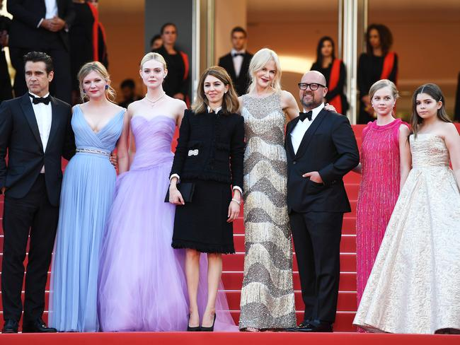 The all-star cast pose with director Sofia Coppola at the 70th Cannes Film Festival.