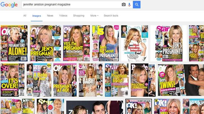 A basic Google image search of 'Jennifer Aniston pregnant magazine' will bring up hundreds of results of Jennifer Aniston's 'pregnancies' over the past two decades. Picture: Google