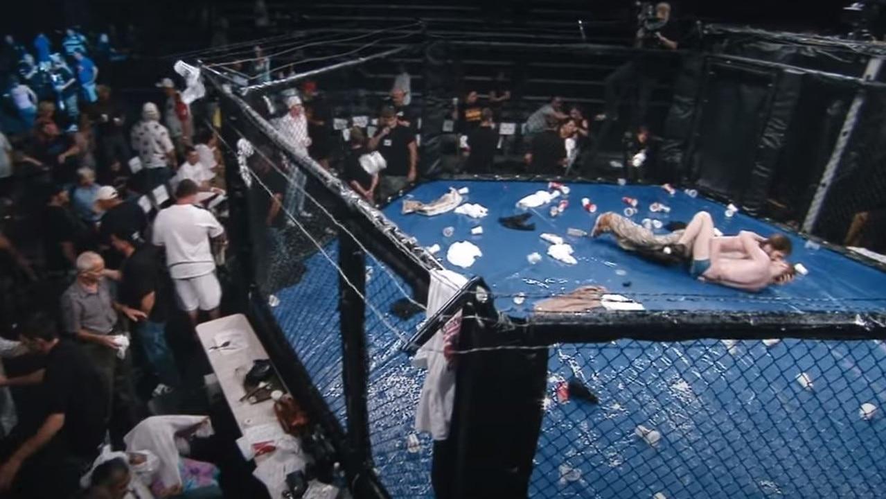 Sacha Baron Cohen's dangerous cage fight stunt.