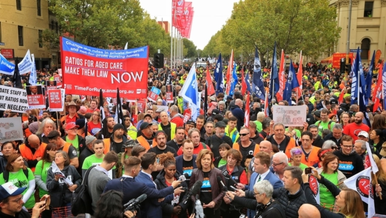Telstra workers protest for wage increases in Melbourne
