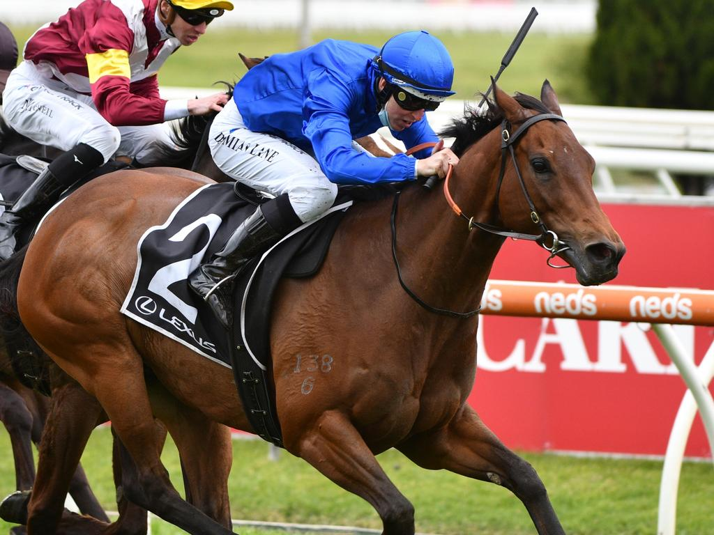 MELBOURNE, AUSTRALIA - OCTOBER 16: Damian Lane riding Colette winning Race 7, the Lexus Tristarc Stakes, during Caulfield Cup Day at Caulfield Racecourse on October 16, 2021 in Melbourne, Australia. (Photo by Vince Caligiuri/Getty Images)