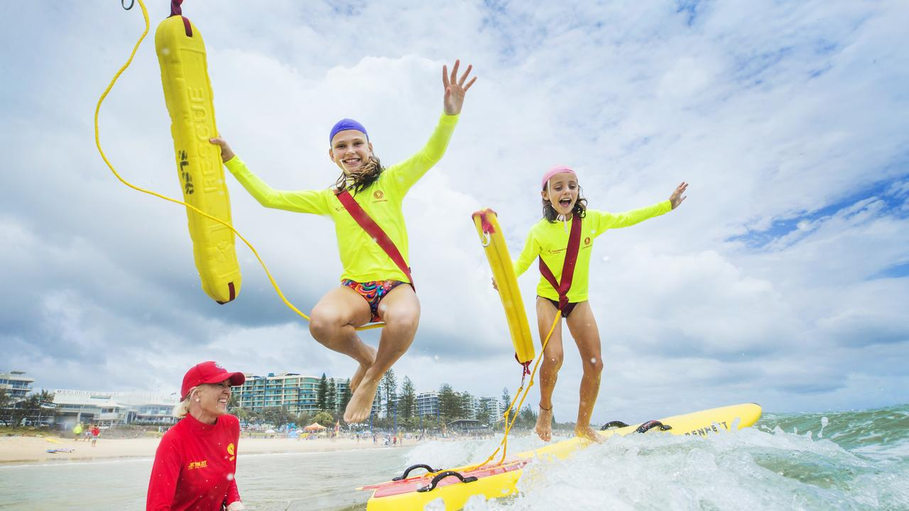 Sienna Carter 10, and Claire Walsh 8, were part of the Little Lifesavers program on the Sunshine Coast over the school holidays — a wholesome lifestyle is one of the many reasons why the area is taking off. Picture: Lachie Millard.