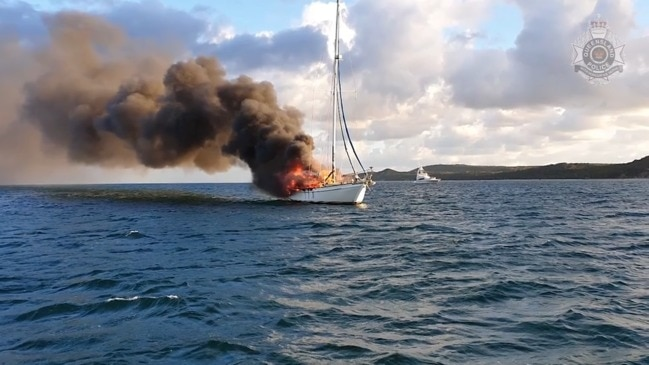 Yacht engulfed by fire near Moreton Island. VIDEO: Queensland Police Service