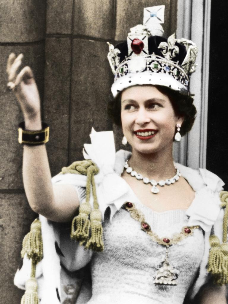 Queen Elizabeth during her coronation in 1953. Picture: The Print Collector/Getty Images.