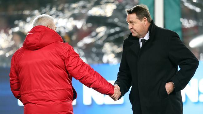 Lions coach Warren Gatland and All Blacks coach Steve Hansen shake hands before the first Test.