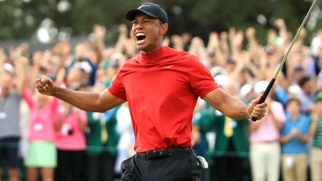 Tiger Woods celebrates on 18. Picture: Getty Images