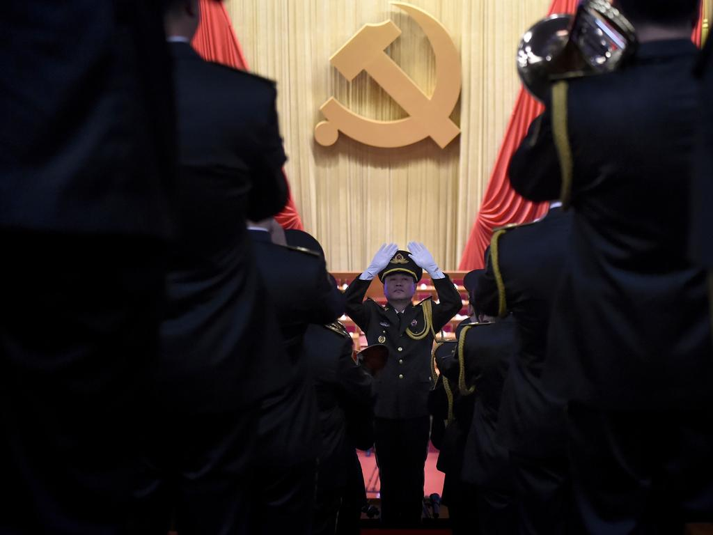 A Chinese People's Liberation Army (PLA) officer before a meeting of the Chinese Communist Party. Picture: AFP