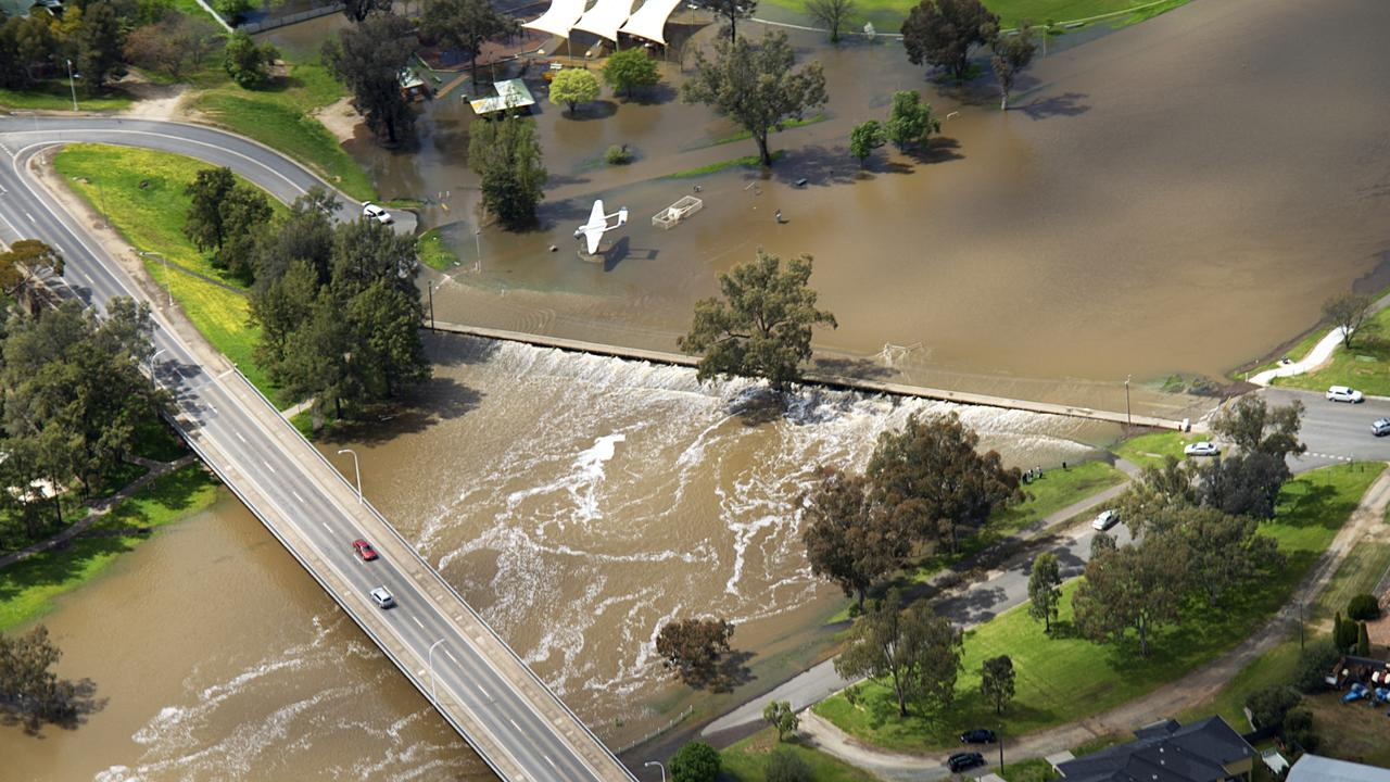 Lachlan River when Forbes flooded in 2016. Now the town could soon run dry. Picture: Brian Harvey