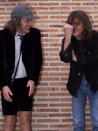 Angus and Malcolm Young inaugurating the first street bearing AC/DC's name in Spain. Picture: AFP