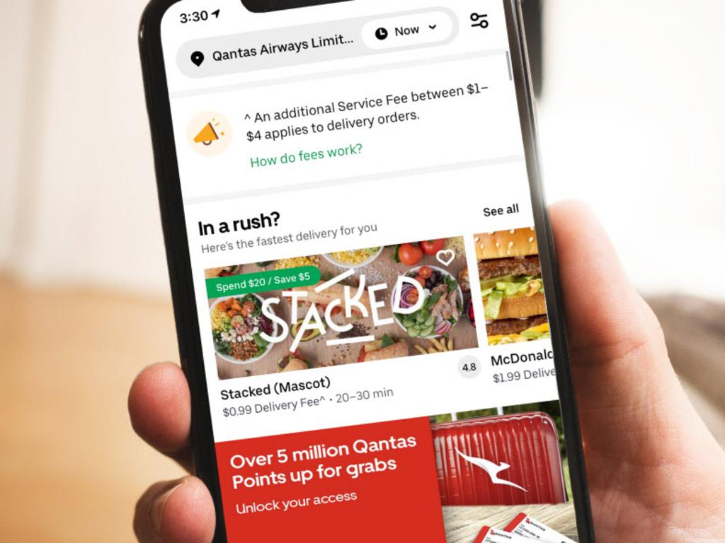 Qantas frequent flyer members can earn points by ordering Uber Eats for lunch this week. Picture: Qantas
