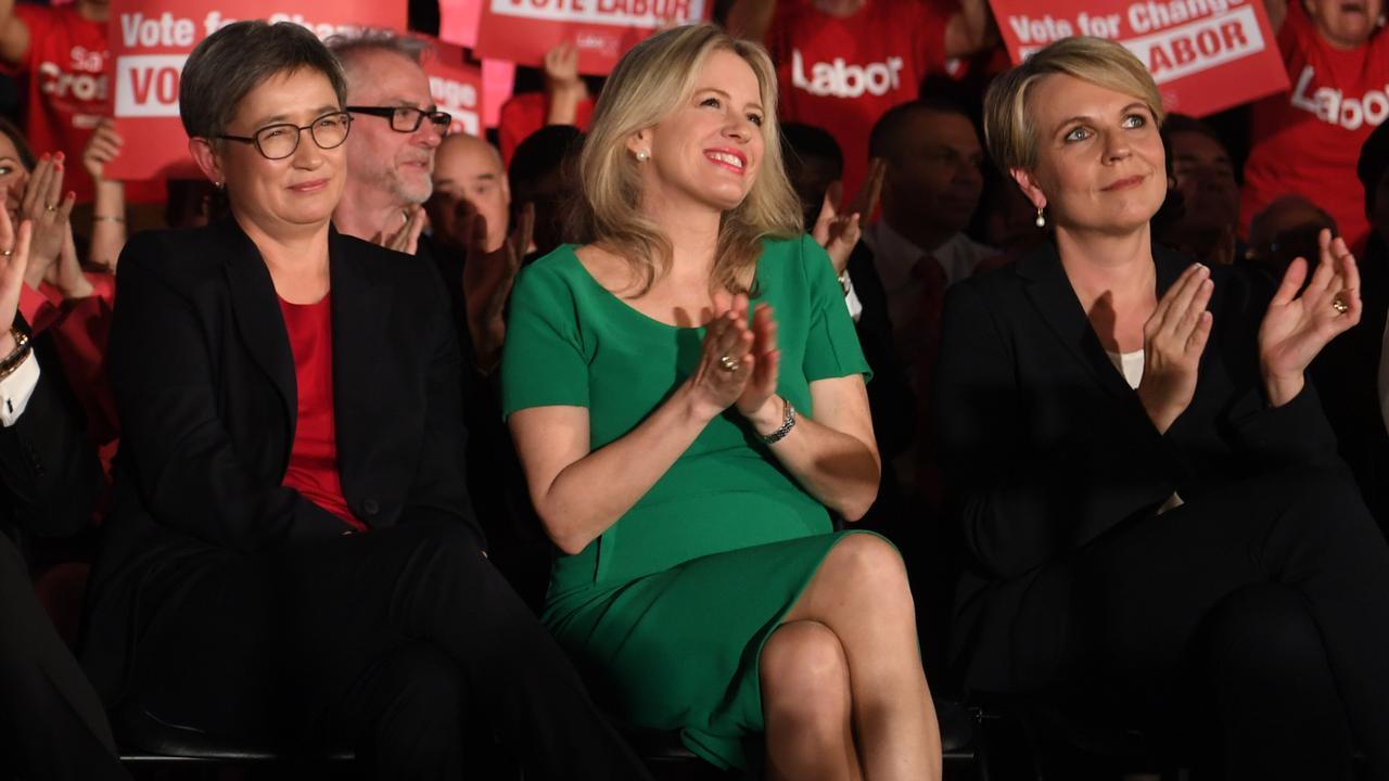 Chloe Shorten looks on as Bill Shorten addresses the Labor faithful. Picture: AAP