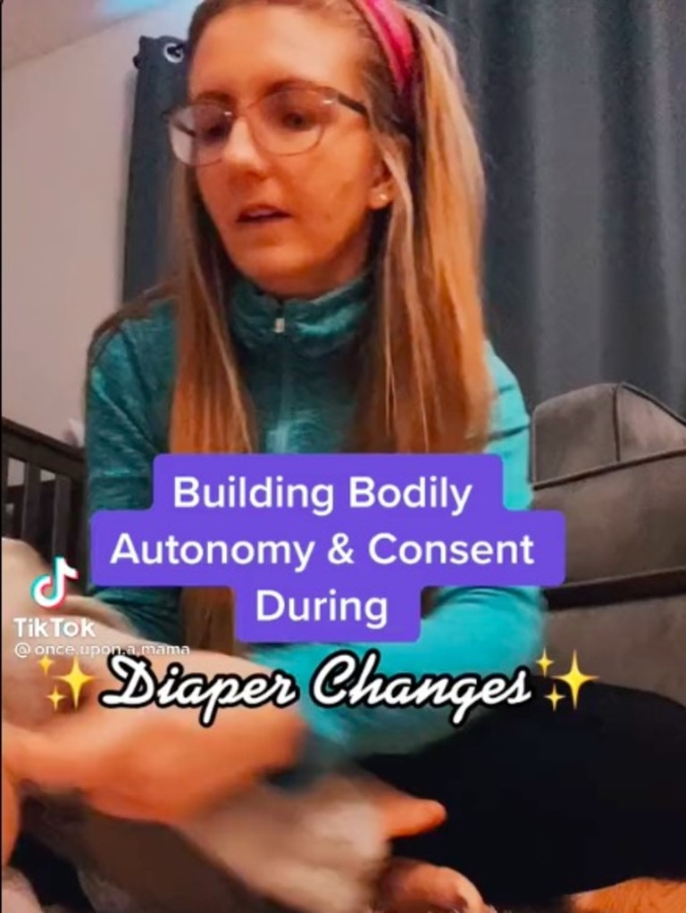 Alissa uses nappy changes to teach consent. Picture: TikTok/@once.upon.a.mama.