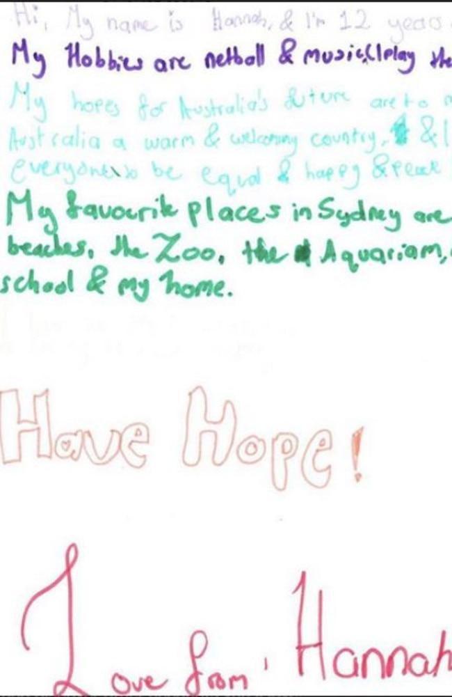 Letters from Aussie kids to Nauru. Pictures: Befriend a Child in Detention