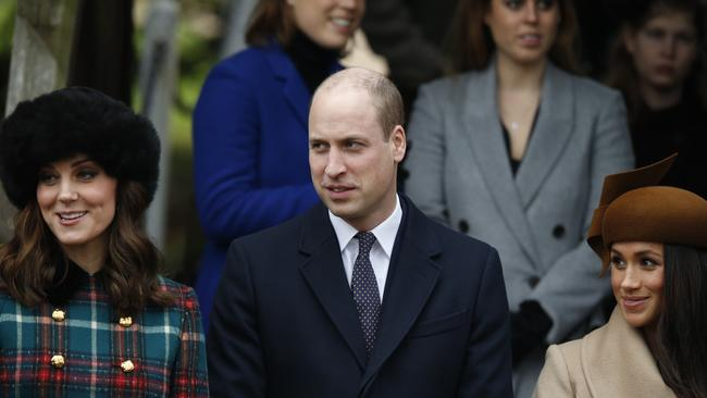 Meghan Markle with Prince William and Kate Middleton. Picture: AP